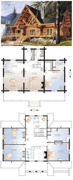 #Log #HomePlan 64969 has 3493 square feet of living space with 4 bedrooms and 2.5 bathrooms. Main level: 9' ceiling. Closed foyer with coat closet, kitchen with lunch counter, dining room, living room with fireplace, master suite with walk-in closet and private bathroom, half-bath with laundry facilities. 2nd Level: 3 secondary bedrooms, large bathroom, family room, mezzanine. 9 foot ceiling on main level, front porch, special fenestration, log home.
