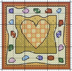 'Heart with Jewels' from Michael Powell's 'Mini Cross Stitch' book (paperback, pub. Search Press). There are twenty to make and they are all very quirky and appealing. I have made most of the pictures in this book for someone or other and they are a real pleasure to work on.