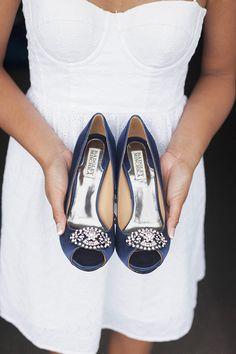 Badgley Mischka Something blue wedding, bridal shoes. Navy Blue Wedding Shoes, White Bridal Shoes, Blue Wedding Dresses, Wedding Navy, Wedding Bells, Badgley Mischka Shoes Wedding, Seaside Wedding, Summer Wedding, Bride Shoes