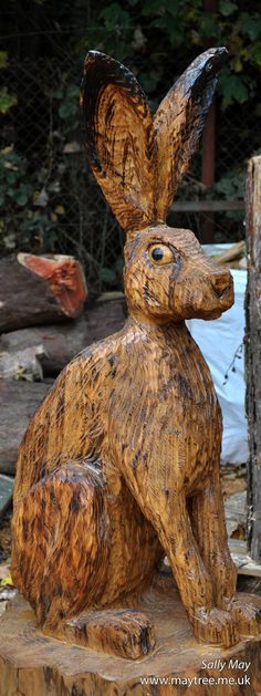 Large 4ft sitting hare. Chainsaw carving by Sally May