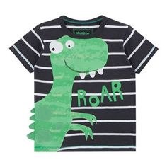 bluezoo Boys' dark grey striped dinosaur print t-shirt Cheer Shirts, Boys Shirts, T Shirts, Toddler Boy Fashion, Kids Fashion, Kids Nightwear, Applique Monogram, Kids Swimwear, Couple Shirts