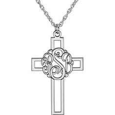 Script Monogram Cross Necklace available in sterling silver, white gold, yellow gold and platinum at Skatell's Charlotte Monogram Jewelry, Monogram Necklace, Personalized Jewelry, Graduation Jewelry, Or Rose, Rose Gold, Cross Pendant, Jewelry Stores, Fine Jewelry