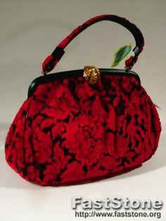 Vintage 60's Red Carpet Tapestry Evening Handbag Purse