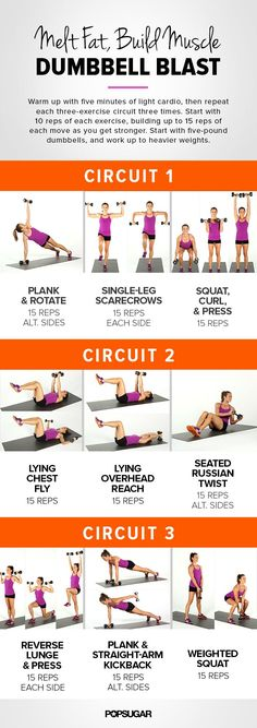 Melt fat and build muscle by adding weight to your workouts with this dumbbell blast circuit workout. It's part of our 31 Day of Fitness plan — just print this | See more about weight workouts, workouts and circuit workouts.