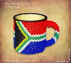 Beaded SA Flag Tin Mug
