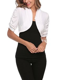 Femmes Uni Manches Longues BOLERO SHRUG Cropped Women Viscose Jersey Summer Top
