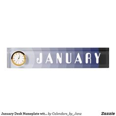 January Desk Nameplate with Clock