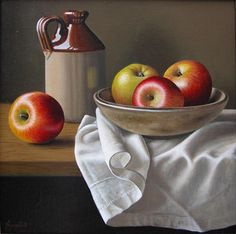 ", ""Stoneware Bottle with Apples"" Saatchi Art Artist Anne Songhurst; Apple Painting, Fruit Painting, Still Life Drawing, Still Life Oil Painting, Fruit Photography, Still Life Photography, Still Life Pictures, Afrique Art, Apple Art"