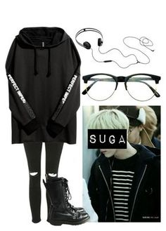 """Yoongi Inspired Outfit #5"" by flaviaazevedo2000 ❤ liked on Polyvore featuring Topshop, Dr. Martens, AIAIAI, Retrò, kpop, bts, bias and yoongi"