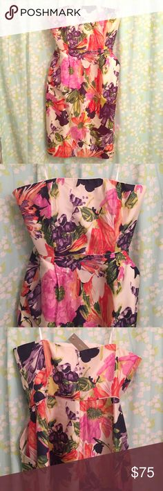 J.CREW NWT STRAPLESS FLORAL DRESS Floral dress has pockets! Strapless and synched at the waist. Beautiful print. 100% silk dress with polyester lining. J. Crew Dresses Strapless