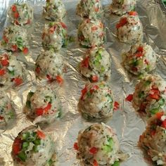 Supreme Pizza Lean Meatballs Preheat oven to 400 degrees 1 lb. lean ground turkey, chicken, or beef 3 egg whites, or 1 whole large egg 1 small onion, diced very small 1 red bell pepper, diced very small 1 green bell pepper, diced very small 1 tsp sea salt 1/2 tsp. freshly ground pepper1 2-3 cloves garlic, minced 1 Tbs. freeze dried oregano 1Tbs. freeze dried basil 1 tsp dried thyme Combine. Form 1 inch round balls. Bake 12 minutes on greased cookie sheet. Serve with marinara sauce