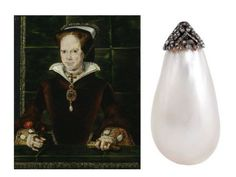 La Peregrina : A natural pearl once belonging to Mary Tudor, Queen of England, notoriously known as 'Bloody Mary'. One of the world's largest pearls, La Peregrina was a wedding present from Mary's husband, King Philip II of Spain. It was later purchased by Richard Burton for Elizabeth Taylor.