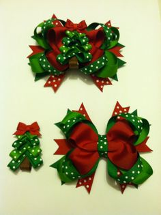 Interchangeable Christmas Tree Bow with clippie - Interchangeable Hairbows - Christmas - Christmas Hairbows - Holiday Bows - Tree Clippie Diy Lace Ribbon Flowers, Flower Hair Bows, Baby Hair Bows, Ribbon Hair Bows, Christmas Tree Bows, Halloween Hair Bows, Christmas Hair Bows, Diy Hair Accessories Ribbon, Hair Bow Tutorial