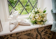 Kent Wedding Photographer, Hayne Barn House - Brides Bouquet Flowers and Shoes