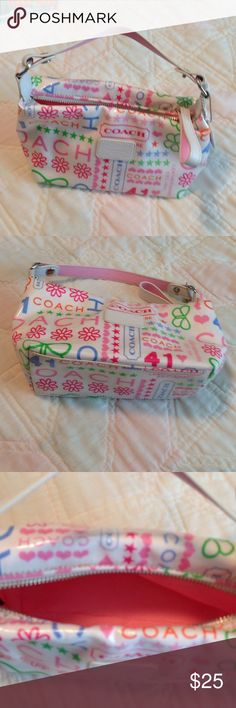 Coach purse Coach Purse--white with bright pops of color. Perfect summer bag!! Only used twice--perfect condition inside and out Coach Bags Mini Bags