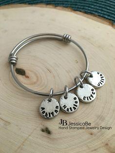Mommy Bracelet Charm Bracelet Adjustable with by JessicaBe on Etsy
