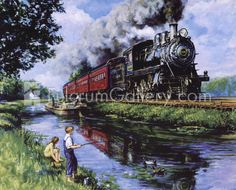 Details about 2 Large Steam Engine Art Prints Train Railroad Posters Zug Illustration, Old Steam Train, Train Posters, Train Art, Old Trains, Vintage Trains, Train Engines, Steam Engine, Steam Locomotive