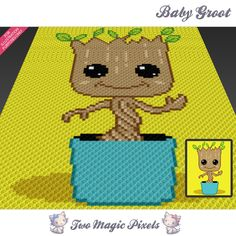 Baby Groot  is a graph pattern that can be used to crochet a blanket using C2C (Corner to Corner), TSS (Tunisian Simple Stitch) and other techniques. Alternatively, you can use this graph for knitting, cross stitching and other crafts.  This graph design is 80 squares wide by 100 squares high.  It requires 9 colors for the character and 2 for the background.  Pattern PDF includes:  - color illustration for reference  - color square pattern  Image only, no written counts.  This listing is for…