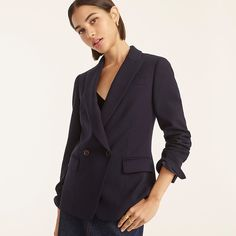J.Crew: Lady Blazer In Four-season Stretch For Women Double Breasted, Stretches, Fall Outfits, Jackets For Women, Feminine, Seasons, Blazer, Lady, Sleeves