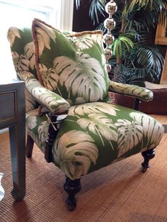 Gorgeous chair.. love the tropical leaf fabric
