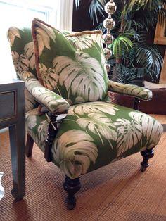 Gorgeous chair.. love the tropical leaf fabric