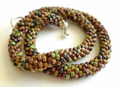 Crocheted Beaded Necklace   picasso by WillowFairyJewelry on Etsy, $22.00