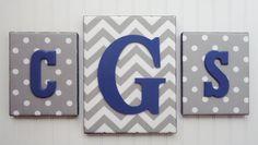 Wall Letters, Monogram, Nursery Decor, Upholstered Letters, Nursery Letters, Gray White Chevron, Gray White Polka Dots, Navy Blue Letters