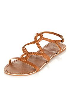 Wide Fit Tan Leather Twist Plaited Strap Sandals | New Look