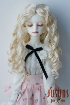 18.5-20 cm Doll wigs 1/4 MSD Long wave 7-8inch synthetic mohair
