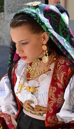 Young girl dressed in traditional costume #Sardinia #MediterraneanSea
