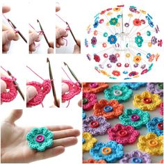 How To crochet Mini Hoop Flowers