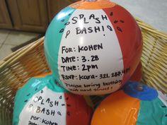 Uitnodiging op een opblaasbare bal