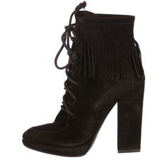 Pre-owned Giuseppe Zanotti Ankle Boots ($295) ❤ liked on Polyvore featuring shoes, boots, ankle booties, black, suede booties, suede fringe booties, ankle boots, black booties and suede lace up booties
