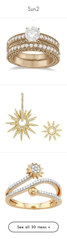 """""""Sun2"""" by martesaltroo on Polyvore featuring jewelry, rings, accessories, anel, vintage engagement rings, filigree engagement ring, antique engagement rings, antique diamond rings, rose gold band ring and earrings"""