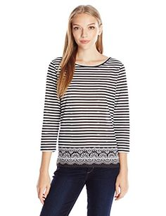 Caribbean Joe Women's Three Quarter Sleeve Striped Border... https://smile.amazon.com/dp/B01FNB137E/ref=cm_sw_r_pi_dp_x_V5AjzbWPC7GG2