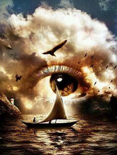 #abstrato #surreal ☆ * #Arte #Ilustração * #Olhos #Visão ☆ #PorTodosÂngulos ☆ #Veleiro *