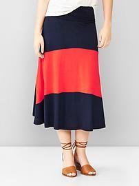 Single-stripe foldover maxi skirt