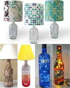 Abajur feito com garrafa de vidro                              …