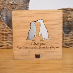 Valentines Day Penguins in Love Plaque - Personalised Oak Wooden Sign - Pretty Personalised