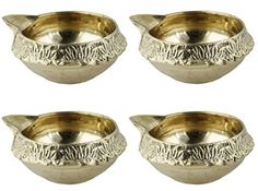 Set of 4 Handmade Indian Brass Oil Puja Lamp  Diya Lamp Table Lamp Night Light Lantern  25 x 25 x 11 -- Continue to the product at the image link.