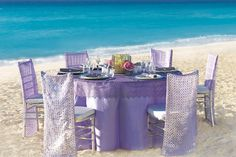 Hard Rock Stylish Silver & Purple Beach wedding Reception Decorations. At Weddings Romantique, we will be glad to help you plan your Stylish All Inclusive Destination Wedding, we will take care  of your destination wedding services from sourcing the right vendors, creating a stylish event that reflect your personality and budget to all the legal requirements for getting married on away from home in addition to providing you personalized group travel arrangements for all your guests.