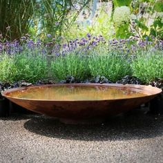 Corten steel water bowl bought to you by Sussex landscapers Garden House Design. This contemporary water bowl is minimalistic and a great feature for any garden Flower Landscape, Landscape Design, Gravel Garden, Patio Interior, Water Features In The Garden, Small Water Features, Corten Steel, Garden Cottage, Gardening
