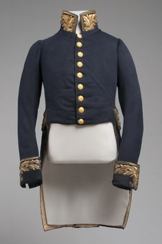 Man's Court Uniform: Coat  Artist/maker unknown, American. Worn by Colonel George W. Hughes, American.  Geography: Made in United States, North and Central America Date: c. 1840 Medium: Fulled wool plain weave with raised embroidery of metal-wrapped thread, metal plate and sequins in satin, stem, and couching stitches; coated brass buttons. Dimensions: Center Back Length: 37 1/2 inches (95.3 cm) Accession Number: 1962-130-1a