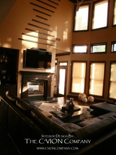 2 story great room with fireplace and tv See Through Fireplace, Interior Design Photos, Nfl Football, Great Rooms, Nba, Architecture Design, Remote, Shades, Home