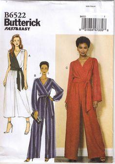 Mock Wrap Surplice Jumpsuit Long or Crop Leg Sash Sewing Pattern 8 10 12 14 16 #Butterick #FastEasy
