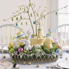 Easter Candy Land: How-to: Push branches into foam inside a white-chocolate basket and hang eggs by a thread looped through the foil. Elevate basket and surround with grass and Easter treats. Easter Candy, Hoppy Easter, Easter Eggs, Candy Land, Easter Crafts, Easter Ideas, Easter Decor, Holiday Crafts, Candy Decorations