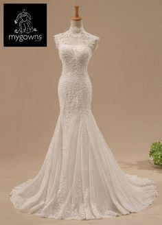 High neck lace mermaid wedding gown