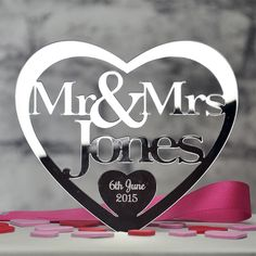 Personalised Mr and Mrs, Mr & Mr or Mrs & Mrs Heart Shaped Wedding Cake Topper Keepsake In Acrylic Mirror. The acrylic mirror we use is the highest quality available in the UK which produces the best quality results every time and protects the edges from becoming singed unlike cheaper products. | eBay!