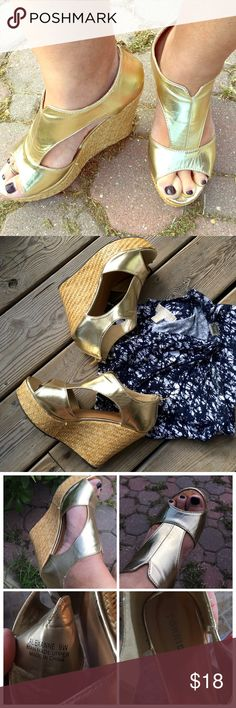 Just In Torrid Gold Wedges Screaming summer club night these gold wedges are begging to hit the pavement.  Gently worn maybe twice.  They are wide width torrid Shoes Sandals