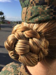 Braids bun low military 45 Ideas Braids bun low military 45 Ideas Soft, shiny, silky and well-groomed hair is our dream. Braided Bun Hairstyles, Bun Hairstyles For Long Hair, Work Hairstyles, Sleek Hairstyles, Pretty Hairstyles, Military Hairstyles, Braided Buns, Military Bun, Military Girl